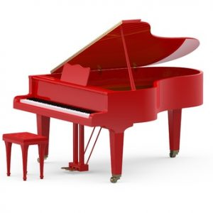 red grand piano on white background