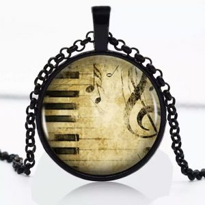 music notes and piano keys pendant black